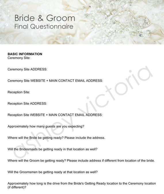 Bride & Groom Wedding Questionnaires For Photographers