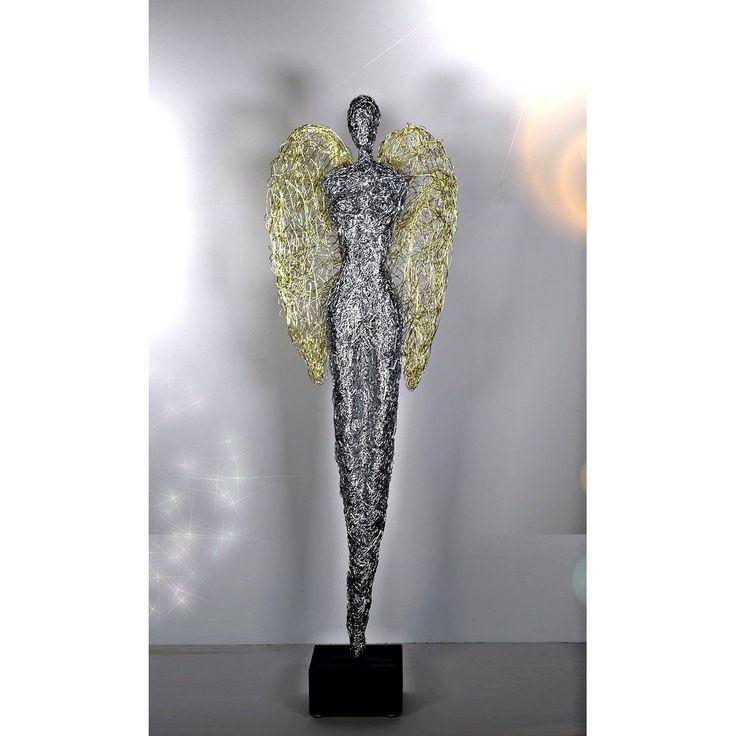 Design Skulptur - Engel 130-2 - Aluminium silber /gold.  Höhe ca. 130 cm    Hochwertige Design-Skulptur für eine außergewöhnliche Dekoratio