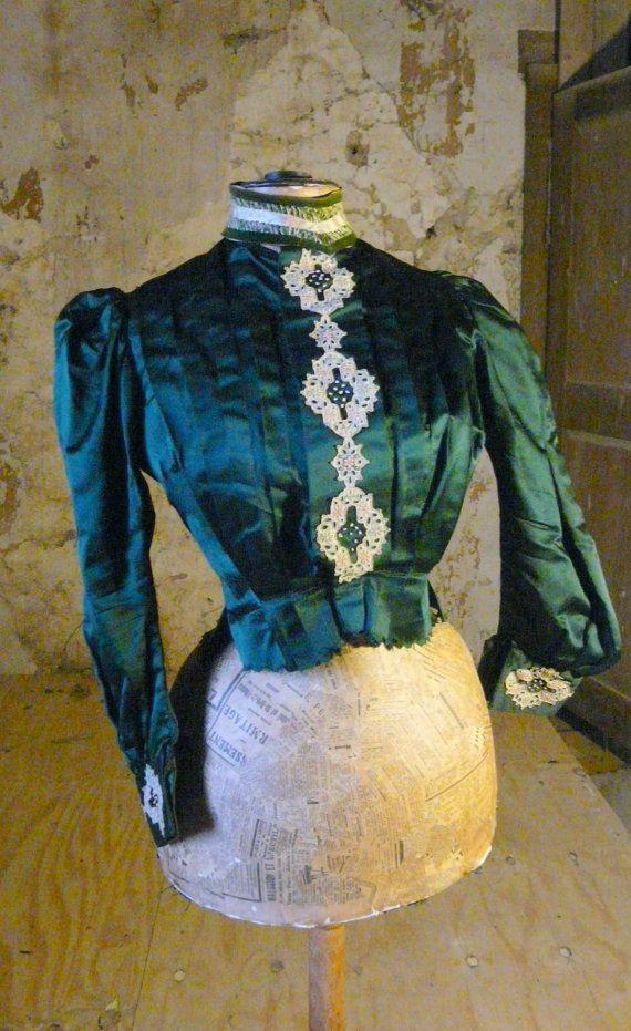 Antike französische viktorianischen grün satin von mereltreasures
