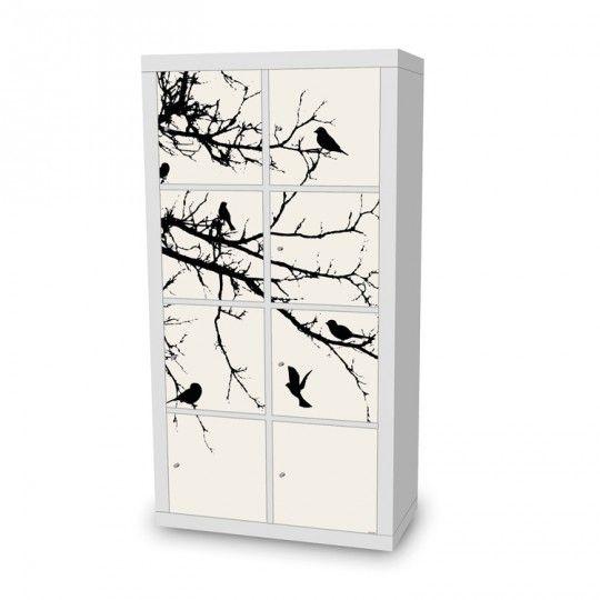 Natur-Look in schwarz/weiß: Tree and Birds Designfolie #schwarzweiß #Expedit #Regal
