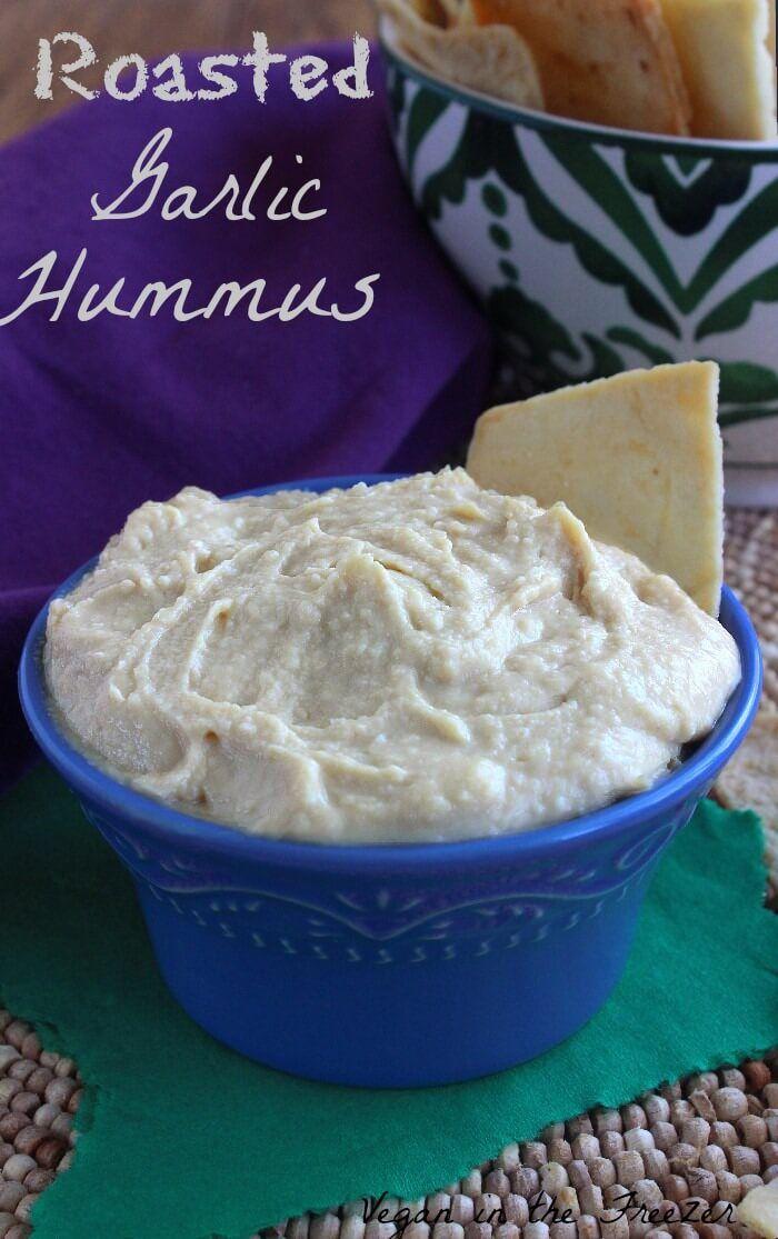 Roasted Garlic Hummus Recipe | Vegan in the Freezer