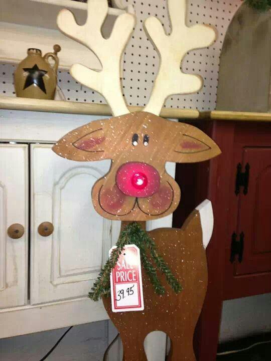 Cute tall wood craft reindeer