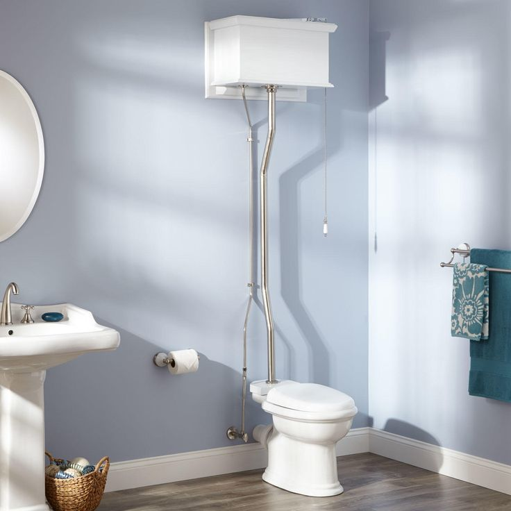 White High Tank Pull Chain Water Closet with Round Victorian Bowl
