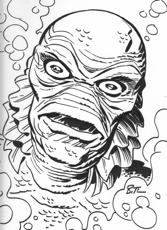 289 best images about how to draw sea on pinterest for Creature from the black lagoon coloring pages