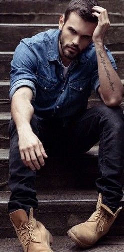 Denim shirt x black jeans x tan boots