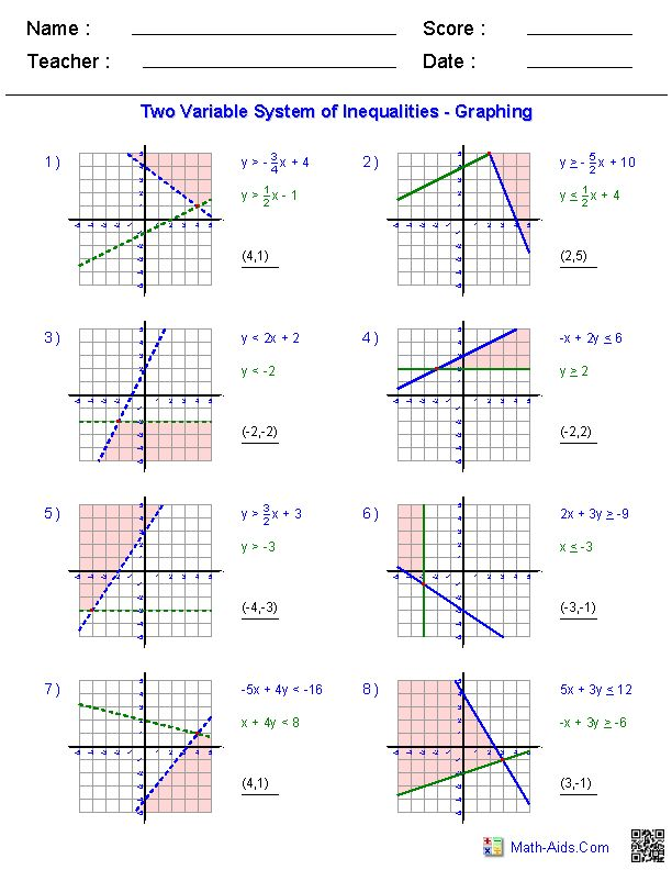 Systems Of Equations Worksheets Algebra 2 Worksheets Math Aids Com