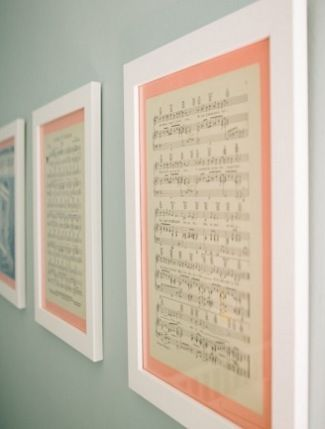 Framed lullabies for the nursery. Could do this with any favorite piece of sheet music for the home.