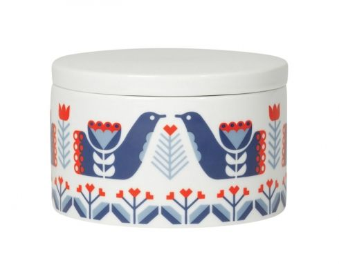 The Folklore short canister by Danica Studio is decorated with pretty Scandinavian-inspired red and blue patterns. This ceramic container, which can be used in the kitchen, bathroom or on a dressing table, has a glossy finish.-5 x 3.25 (h) inches