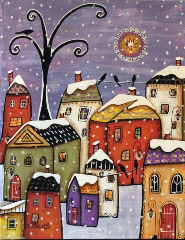 Winter Town 11x14 Houses Birds Snow ORIGINAL Canvas PAINTING FOLK ART Karla G...Brand new painting, now for sale... by elgaa.agustin