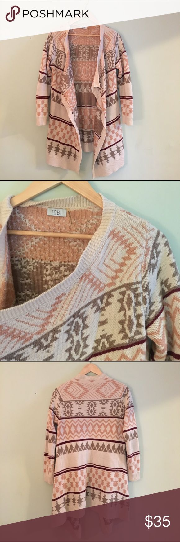Tribal print Tobi sweater Long tribal print sweater from Tobi, looks great belted! Tobi Sweaters Cardigans