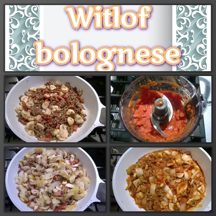 Witlof bolognese. Een paar spekjes bakken. Gehakt toevoegen en rullen. Dan champignons toevoegen en even meebakken. Witlof in stukken snijden en ook toevoegen Saus maken van paprika, tomatenpuree, sjalot, knoflook en evt naar gelieve kruiden. Deze saus bij de rest in de pan en even laten pruttelen.