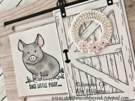 Stampin Up Barn Door Stamps and framelits. Interactive card idea. Kim Williams, stampinwithkjoyink.typepad.com. Pink Pineapple Paper Crafts. Card fold ideas. Video on blog. Stampin Up Occasions Catalog 2018