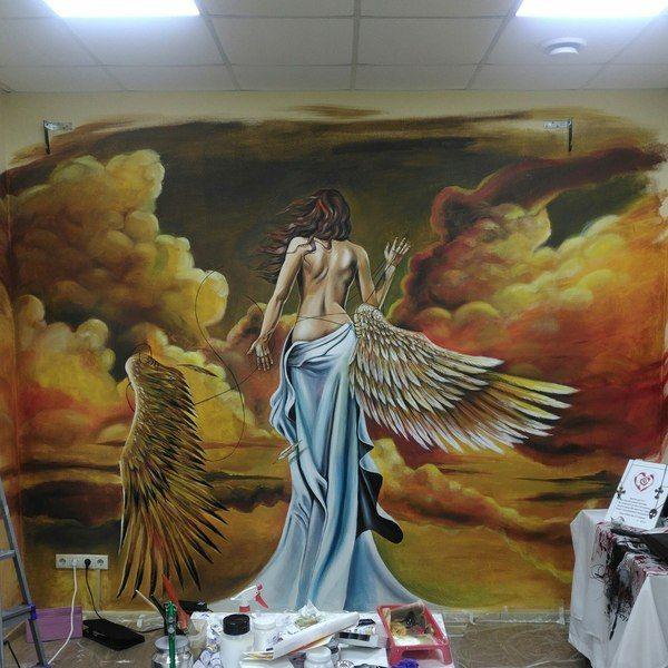 Первый раскрас стены в тату-студии рисунок, рисунок краской, девушки, ангел, стена, Екатеринбург, тату салон, angry fox tattoo
