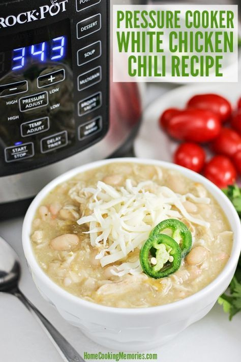 Easy Pressure Cooker White Chicken Chili Recipe - made in Crock-Pot Express Crock Multi-Cooker