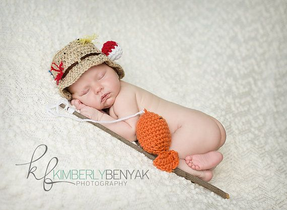 Ready to ship newborn baby fisherman fishing hat crochet for Baby fishing hat