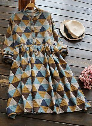 Повседневное платье из смески хлопка длины по колено с принтом шотландской клетки с длинными рукавами (1036499) @ floryday.com