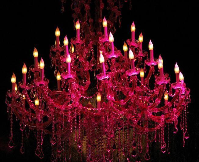 Hot pink chandelier.