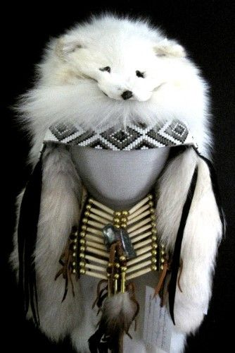Native American Artifact. Used by the Cherokee indians for warmth on their heads. Arctic fox.
