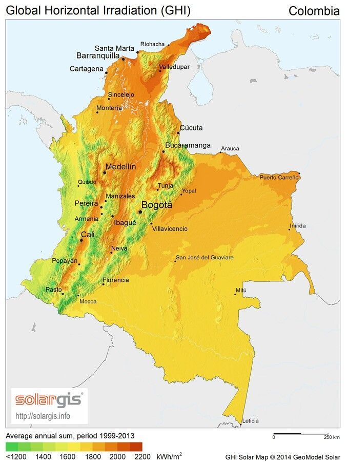 Mapa Solar Colombiano disponible en la web, muestra todo el potencial de autogeneración bajo la Ley 1715/2014