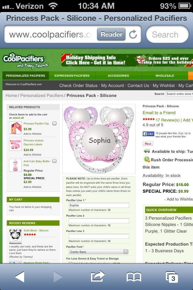 Sophia pacifiers