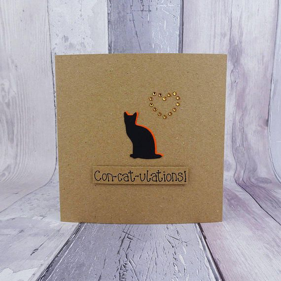 Cat congratulations card Funny cat card Cat pun card Cat