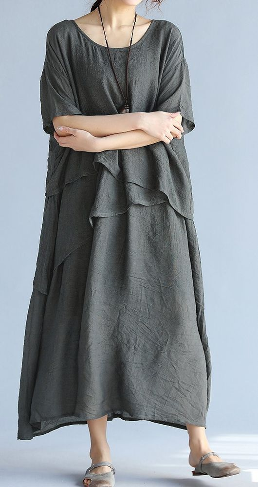 Women loose fitting over plus size dress maxi long tunic pregnant fashion chic #Unbranded #dress #Casual