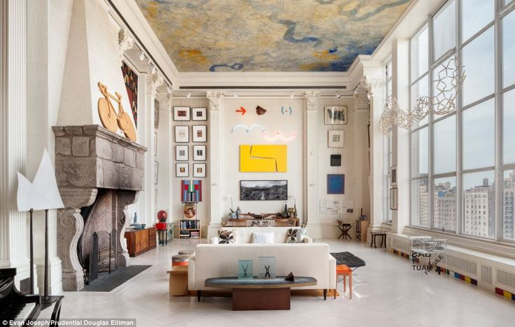 Height of taste: Floor-to-ceiling Corinthian columns give the feeling of being in a museum, castle, or giant public library and draw the eye upwards toward the magnificent mural in Venetian plaster: Interior Design, Living Rooms, Interiors, Livingroom, Loft, Apartment, New York, Space