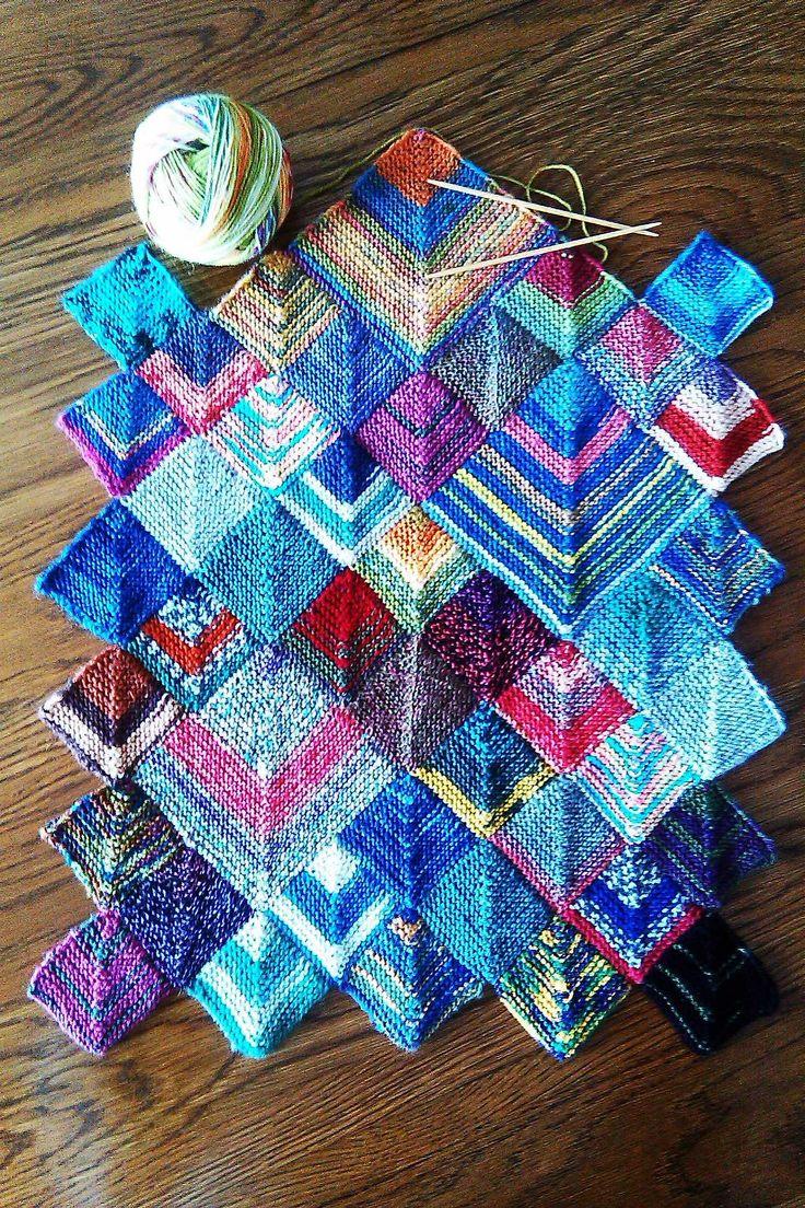 Inspiring mitered squares table runner made using sock for Table knitting