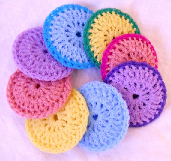 Free Pattern Crochet Nylon Pot Scrubbers : Crochet Nylon Dish Scrubbies - Set of 8 - Pastel ...