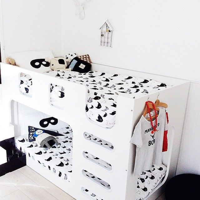 Black And White Loft Bedroom Bedroom Decorating Ideas Diy Paint Colors For Bedroom Bedroom Curtains Kmart: White Modern Bunk Bed In The Boys Room, Beau Loves Bat
