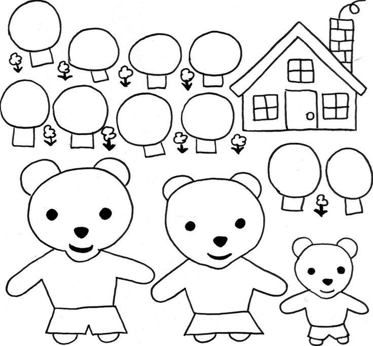 Coloriage, boucles d'or et les trois ours