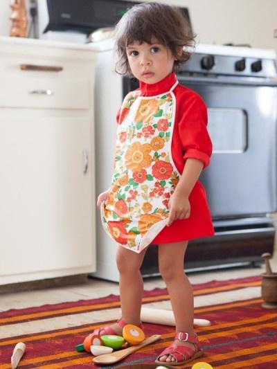 Orange & Red Girl's Poppy Apron - Waanaki