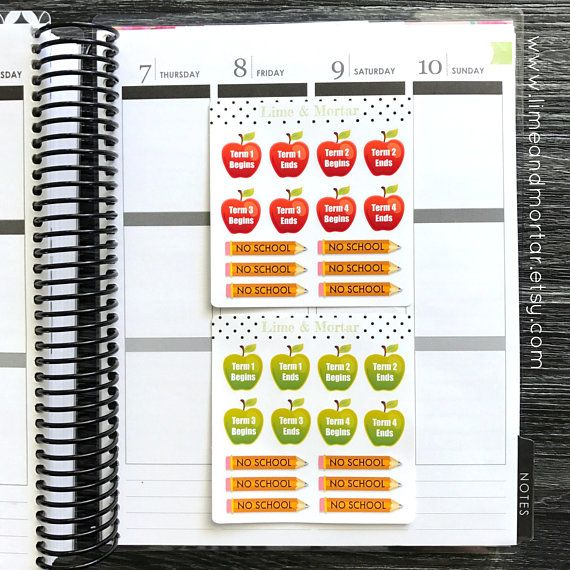 SCHOOL TERM APPLE PLANNER STICKERS  INcludes: Term Begins & Ends Apples for all 4 Terms + 6 no school pencils  Use these stickers to remind yourself when the school term begins and ends and pupil free days. They are printed on premium matte sticker paper and come kiss cut on a sheet ready to stick into your planner.  SEE LISTING FOR SCHOOL TERMS & WEEKS STICKERS: https://www.etsy.com/au/listing/237240742/school-terms-2-colours-planner-stickers  SEE LISTI...