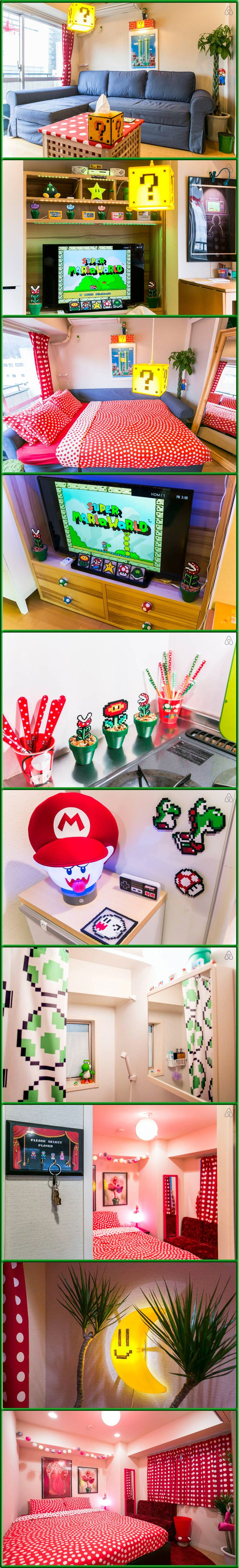 Mario World - Super Mario Bros themed Air BnB in Tokyo Japan. Complete with Princess Peach themed Bedroom