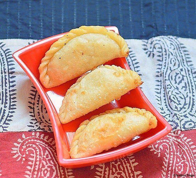 Karanji- step by step pictures - diwali recipes