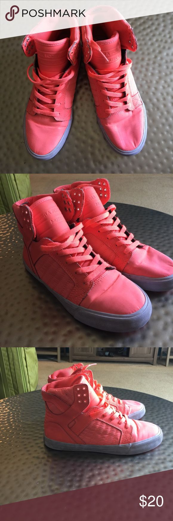 Hot Coral Supra's High top, matching laces, hot coral color. Worn a few times as festivals - the top of the left shoe has a bit of what I would assume is dirt on it. Most likely just need a good wash. 7.5 Supra Shoes Sneakers