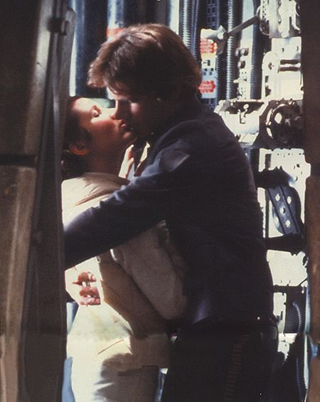 The Kiss-Star Wars V Empire Strikes Back Carrie Fisher and Harrison Ford as Princess Leia and Han Solo
