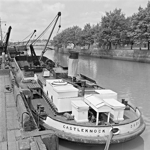 "Guinness Barge: This is the very neat and tidy ""Castleknock"" - a Guinness Barge - moored on the River Liffey in Dublin (53 years ago)"