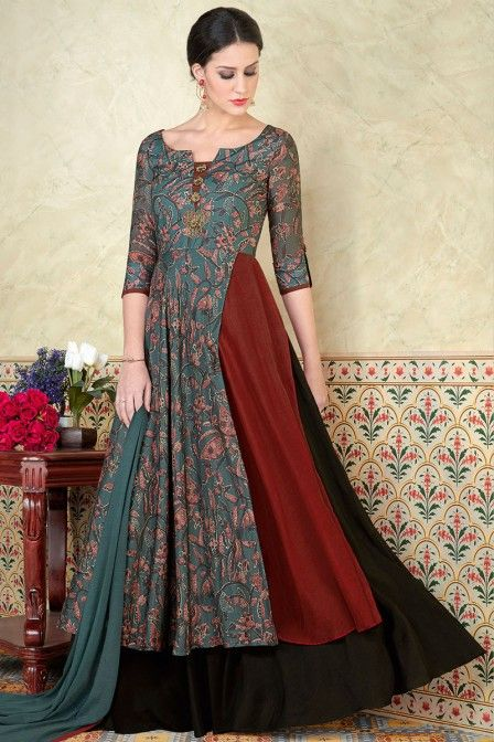7545c92799 Blue Color Beautiful Printed Fancy Look Party wear Gown Style Floor length  Salwar Suit