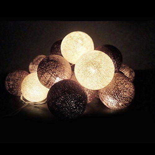nexium brun tissu boule lumires guirlande lumineuse 20 boules colores de nol parti patio - Luminaire Boules Colores