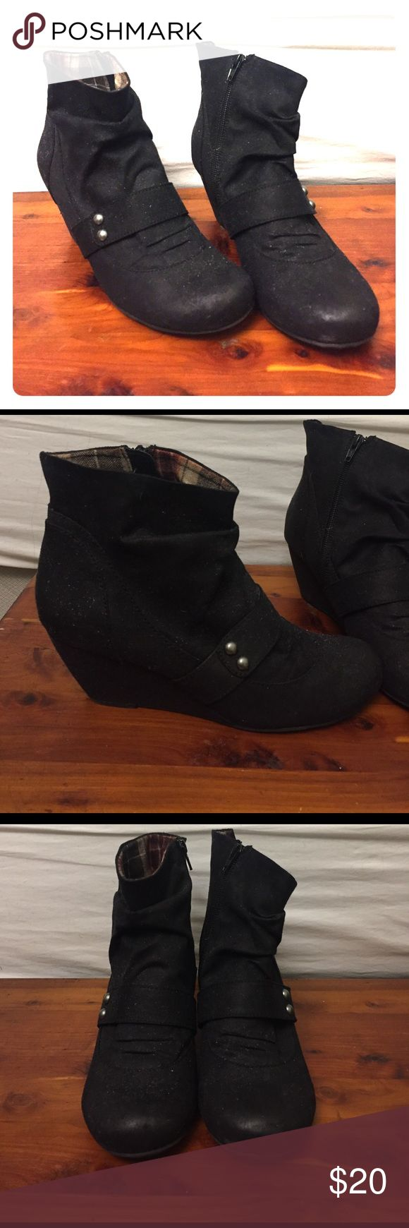 """Heeled booties 3"""" all black dress booties. Brushed silver accents on the outside, black zipper on the inside. The wedge makes them really comfortable, but I only wore them a few times and they're only very gently used. All man-made material, so they're perfect for going out and not having to worry about ruining them. 📍not Steve Madden, but I've seen similar styles there! Steve Madden Shoes Ankle Boots & Booties"""