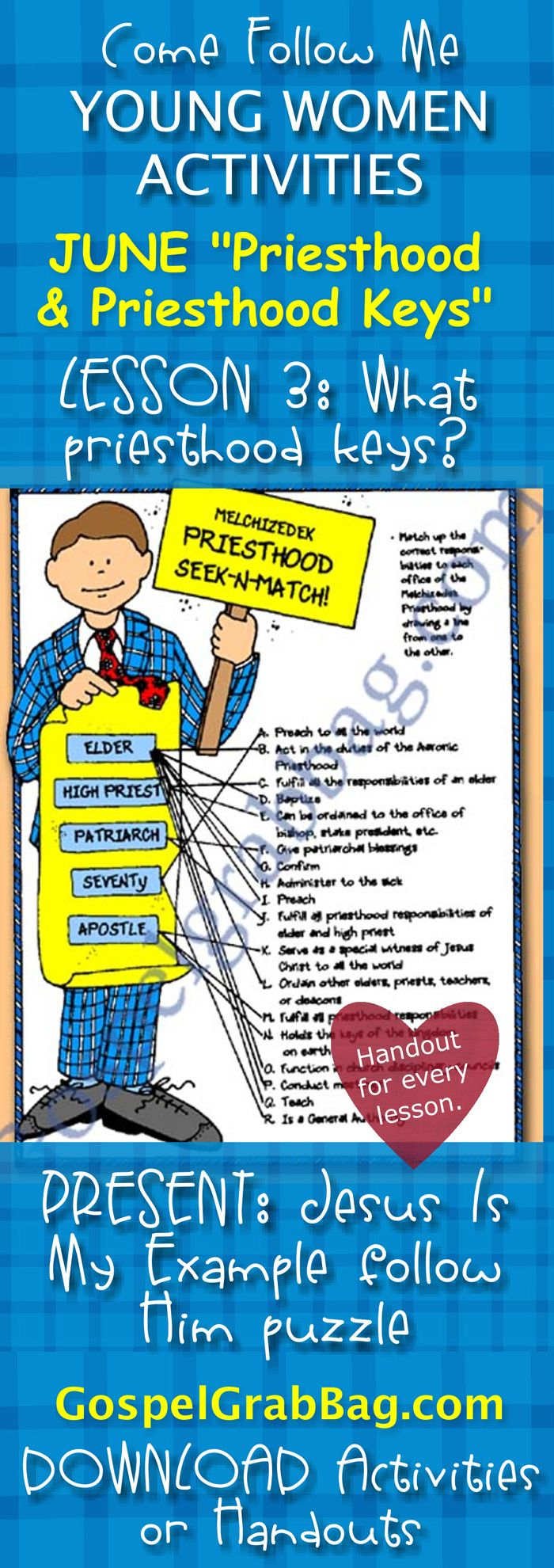 """PRIESTHOOD KEYS: Come Follow Me – LDS Young Women Activities, JUNE Theme: """"Priesthood and Priesthood Keys"""", LESSON: What are the keys of the priesthood? Lesson handouts and activities, ACTIVITY: Melchizedek Priesthood Seek-and-Match, download from gospelgrabbag.com"""