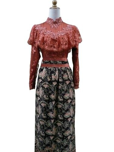 Teracotta dress batik n kebaya