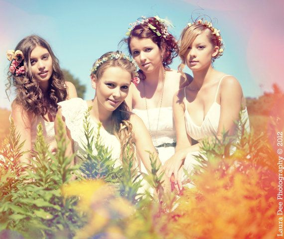 Bridal Flower crown Summer Breeze wildflower hair by AmoreBride