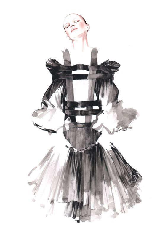 Fashion illustration - watercolour fashion drawing of Comme des Garçons dress // Antonio Soares