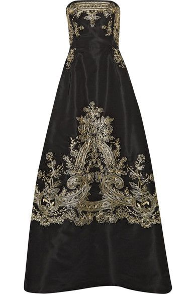 Oscar de la Renta - Embroidered Silk-faille Strapless Gown - Black - US10