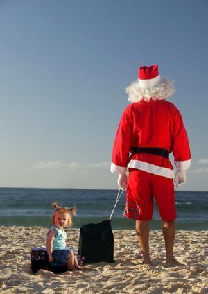 Santa on the beach. Where has he been all my life?
