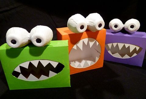 Recycled craft to make Halloween Monsters from recycled kitchen boxes.