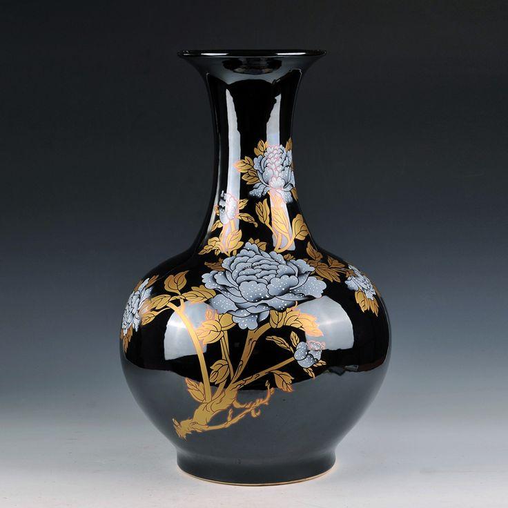 Jingdezhen de cerámica florero Francés Wujin grande Peonía Oro jarrones de estilo Chino clásico salón artesanías(China (Mainland))