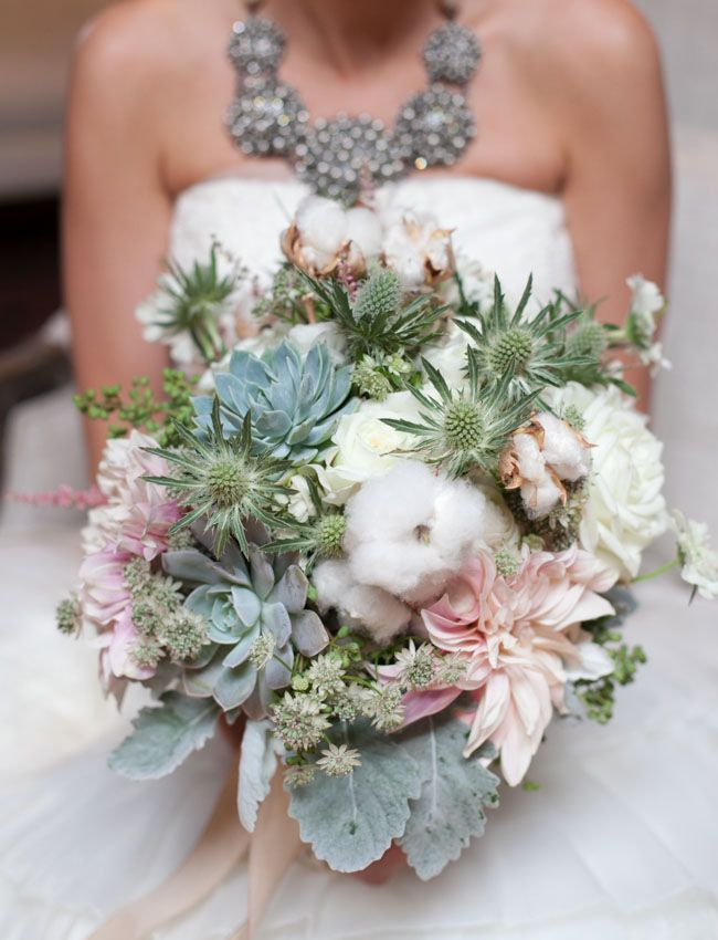Bouquet with cotton, succulents, dahlias + thistles | Green Wedding Shows
